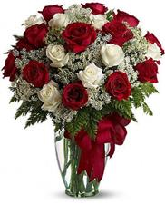 25 red and white roses