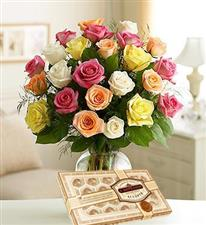 25 assorted roses + chocolates
