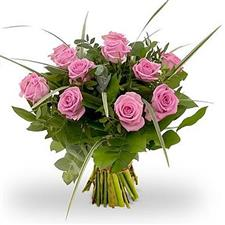 11 pink roses with greens.