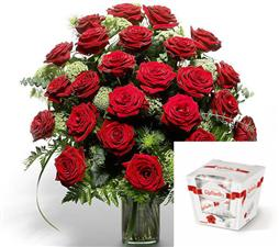 25 elite roses with Raffaello