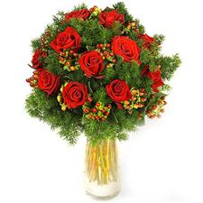 Elegant roses bouquet with a New Year's decoration