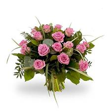 19 pink roses with greenery.